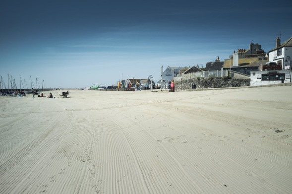 The long stretch of beach